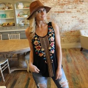 Black embroidered tank